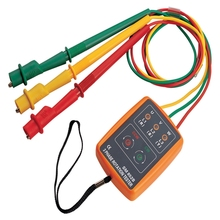 Portable 3 Phase Rotation Indicator Digital Phase Sequence Detector 60V~600V AC Three Phase Voltage Tester LED Buzzer Display