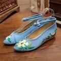 Миссис выиграть Хлопок Цветочные Вышитые Женщина Холст Плоские Туфли Острым Носом Старинные Дамы Повседневный Комфорт Denim Платформы Обувь