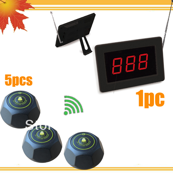 LED display wireless waiter service paging call calling system for hotel (1pc counter display and 5 rooms calls) free shipping