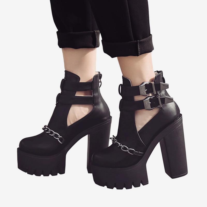 Calzado De Punk Botas Para Con Cremallera Moda Tobillo Alto Black Alto Zapatos Cadena Metal Sexy Tacón Mujer qHS16S