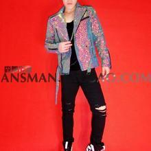 Clubes nocturnos calientes nuevos cantantes DJ colorido destello de  diamante Mens motocicletas chaquetas hombres traje de moda m. 1ca9966a672