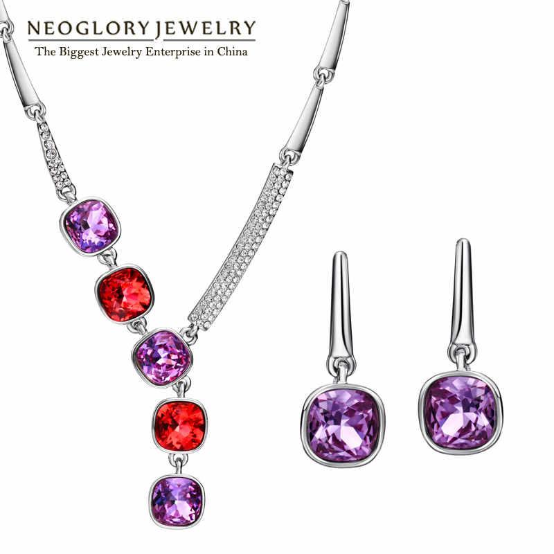 Neoglory marca indiana conjuntos de jóias colar brincos luxuosos presentes de aniversário 2020 novo embelezado com cristais de swarovski