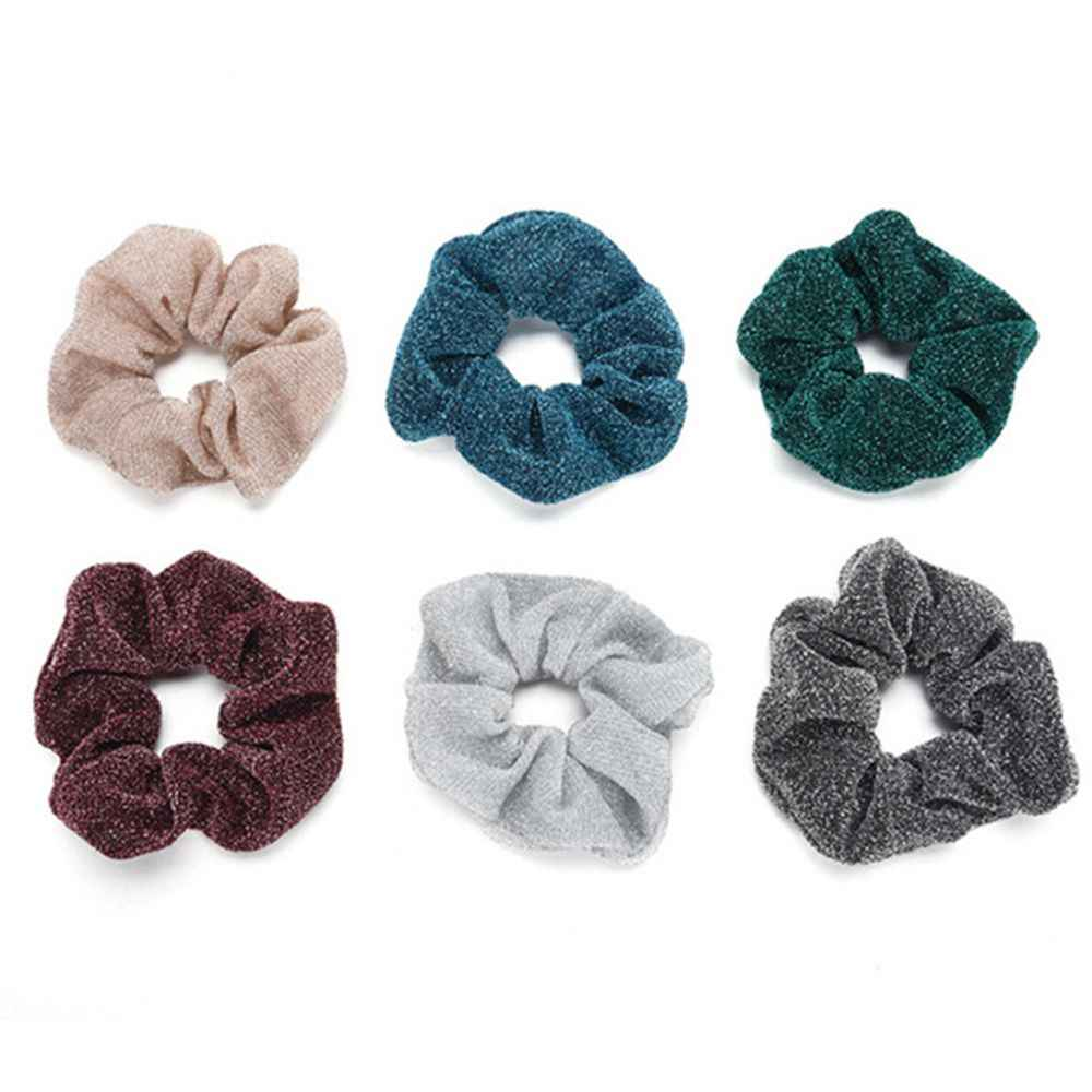 Big Size Women Hair Scrunchies Glitter Elastic Hair Bands/Gum Women Dancing Bun Hair Ties Ropes For Ladies Hair Accessories