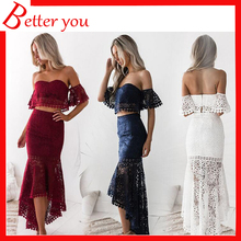 2019 dress women new two piece set lace tube top elegant sexy red white blue color backless pencil