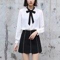 Yichaoyiliang 2017 New Elegant Sweet White Chiffon Blouse Shirts Pearl Bowknot Collar Preppy Style Shirts Women Clothing
