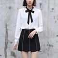 Yichaoyiliang 2017 nova doce elegante camisa blusa chiffon branco pérola bowknot collar preppy estilo camisetas mulheres clothing