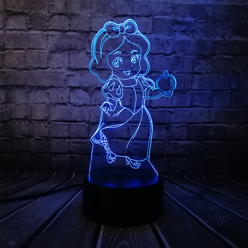 Kawaii Cartoon 3D LED USB Lamp Seven Dwarfs Actress Princess Snow White Apple Girl Birthday Gift 7 Colors Change kids Toys Decor ...
