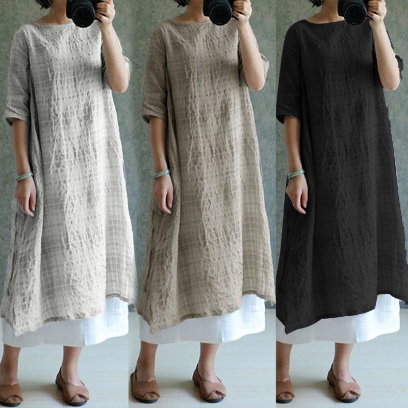 e5f8b8f0c08 S-5XL ZANZEA Women Vintage Linen Dress 2018 Fashion Casual O Neck Half  Sleeve Split Summer Dresses Plaid Baggy Vestido Plus Size