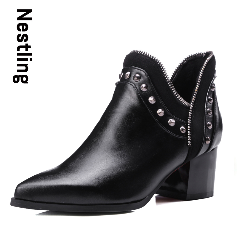New 2017 Autumn Winter Fashion Boots High Heels women Leather Ankle Boots Sexy Pointed Toe Rivets Martin Boots ladies shoes D45