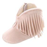 Детские Нескользящие ботинки на мягкой подошве, ботинки для малышей, однотонные ботинки с бахромой для мальчиков и девочек