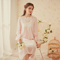 Vintage women's nightgown sweet court winter romance lace patchwork hollow cotton pink blue color sleep dress for ladies
