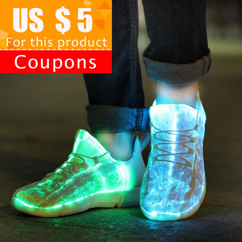 Luminous Sneakers Shoes Light Fabric Fiber-Optic Glowing White Kids for with KRIATIV