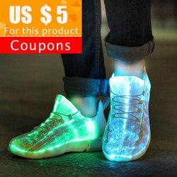 Zapatillas de deporte luminosas chico de KRIATIV que brillan los zapatos de luz para niños zapatillas de deporte LED blancas de niños con luz para adultos chico