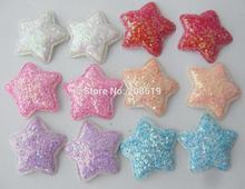 PANVVA Čerstvé barevné třpytivé hvězdné patky na vlasy 120ks 34MM DIY star appliques oděvní doplňky