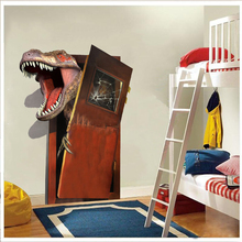 new cartoon 3d dinosaur pvc broken wall stickers for living room home wall art decor diy removeable decals kids gift цена 2017