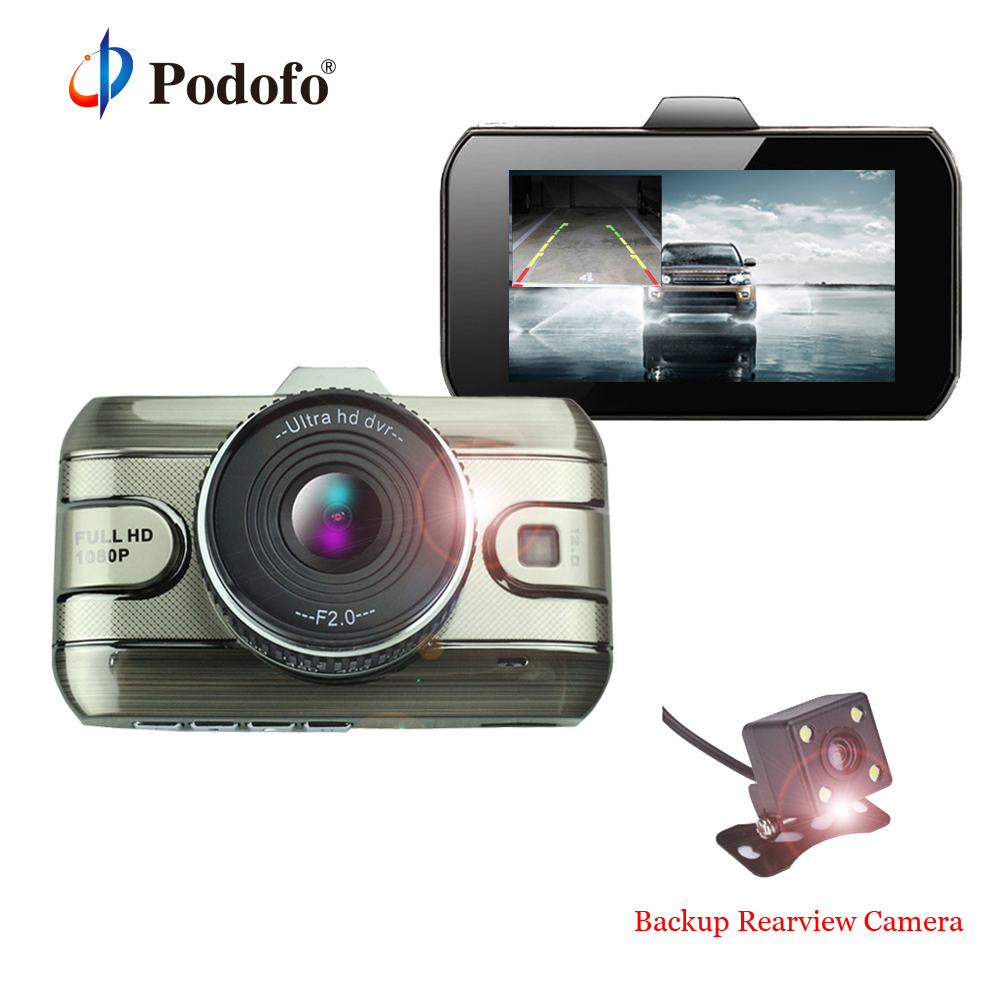 Podofo Original 2017 Car DVR Full HD 1080P 3 inch Dual Lens Video Recorder Car Camera DashCam With Rear View Backup Camera