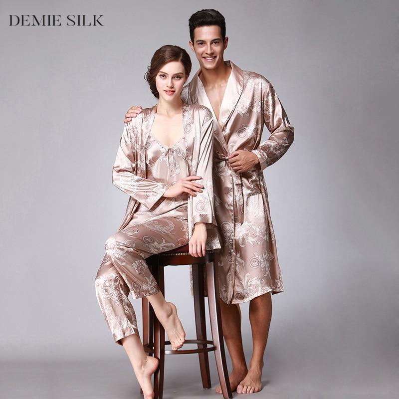 Demiesilk Kvinnor Pyjamas Set Imitation Silk Vår Sommar Pyjamas Tre - Damkläder