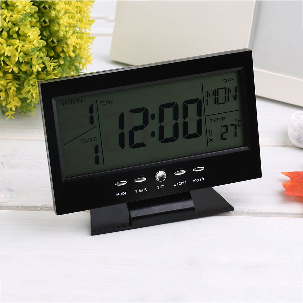 Black & White Voice Control Back-light LCD Alarm Desk Clock Weather Monitor Calendar With Thermometer 147*56*115mm(L*W*H)