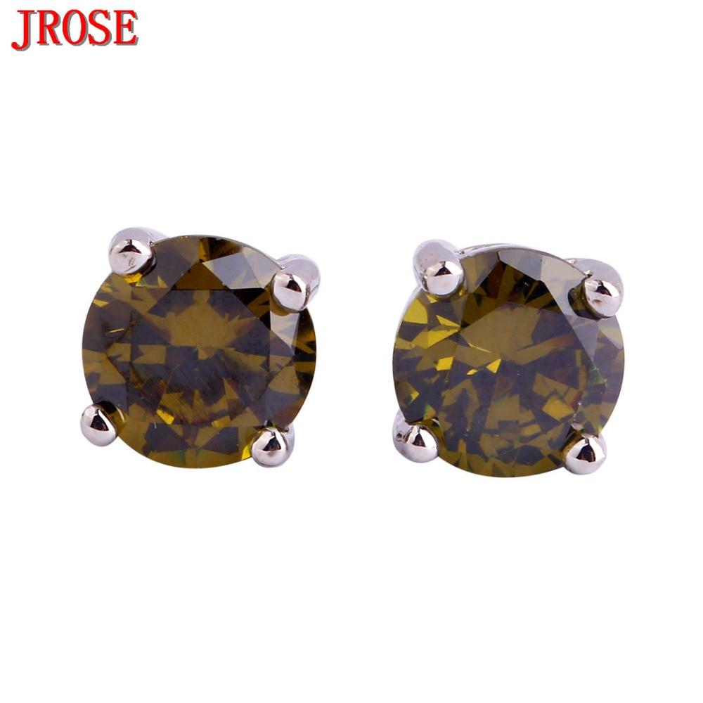 Jrose Endearing New Fashion Olive Green Cz Silver Color Stud Earrings Party  Fashion Women Jewelry Pretty
