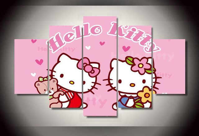 Framed Printed Cartoon hello kitty Group Painting wall art ...