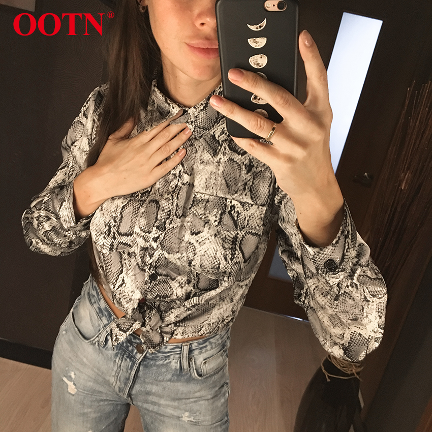 OOTN Womens Office Tops Long Sleeve Snake Skin Tunic Blouse Female Button Down Animal Print Shirts Vintage Casual StreetwearBlouses & Shirts   -