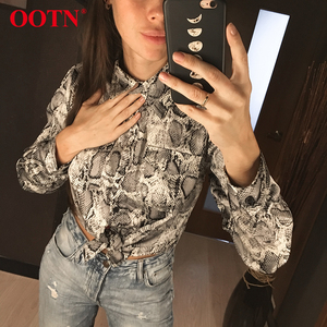 Image 2 - OOTN Womens Office Tops Long Sleeve Snake Skin Tunic Blouse Female Button Down Animal Print Shirts Vintage Casual Streetwear