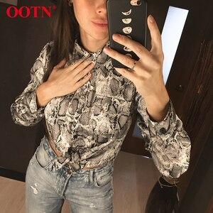 Image 2 - Ootn blusa feminina de manga longa, para escritório, feminina, de cobra, botão para baixo, estampa animal, vintage, casual