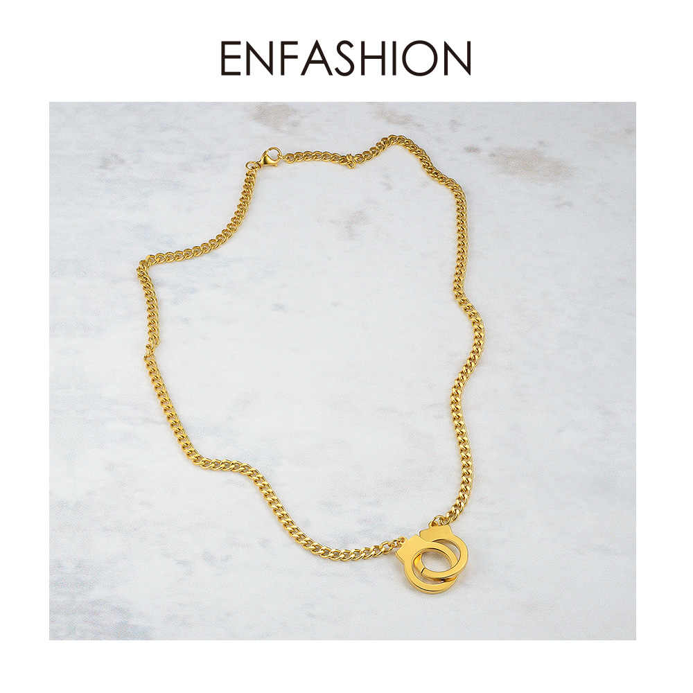 ENFASHION Punk Handcuffs Pendant Necklace Choker For Women Stainless Steel Link Chain Necklace Fashion Femme Jewelry Gifts P3013