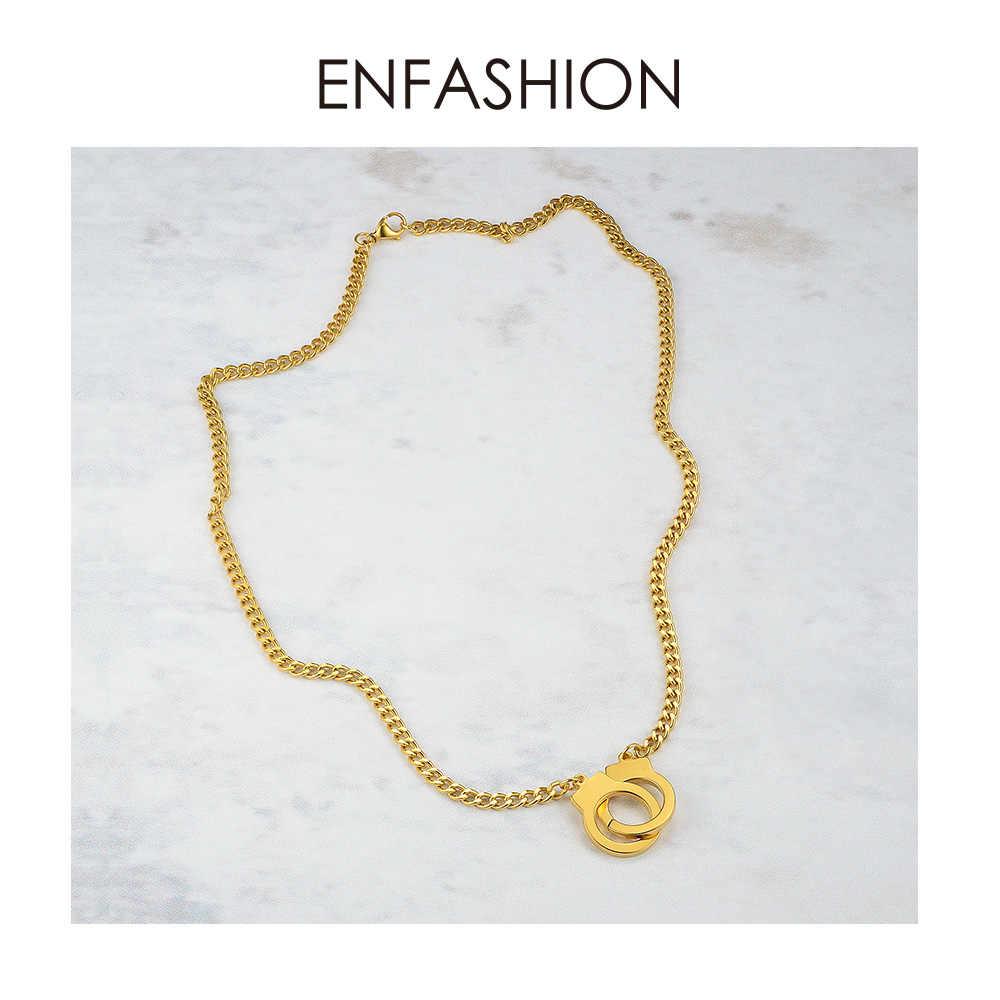 ENFASHION Punk kajdanki wisiorek naszyjnik Choker dla kobiet ogniwo ze stali nierdzewnej łańcuch naszyjnik moda Femme biżuteria prezenty P3013