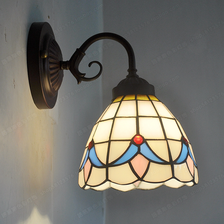 The new European simple double wall Tiffany bedroom bedside balcony mirror glass lamp lighting gifts coffee aisle Antique living 12 inch simple european style modern restaurant droplight tiffany glass lighting mahjong table mediterranean balcony lamp