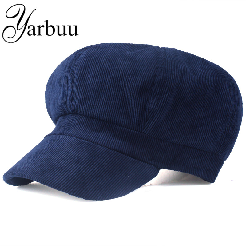 [YARBUU]Artist corduroy Women Octagonal Hats for women cap High Quality Fashion Berets solid colors casual lady caps Female hats
