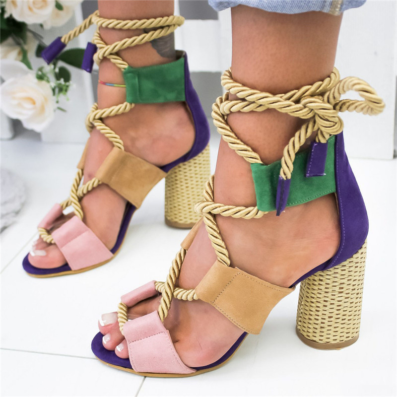 PURPLE Bohemian Summer Wedge Sandals Women Pointed Fish Mouth Lace Up Platform Shoes