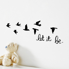 цена на Black Flying Birds Wall Sticker For Kids Rooms Decals Let It Be Characters Wallpaper Living Room Bedroom Accessories Home Decor
