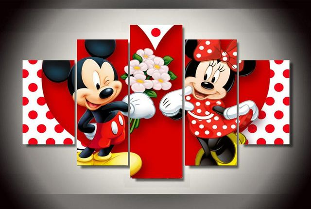encadr e imprim minnie mickey de bande dessin e peinture sur toile chambre d coration d. Black Bedroom Furniture Sets. Home Design Ideas