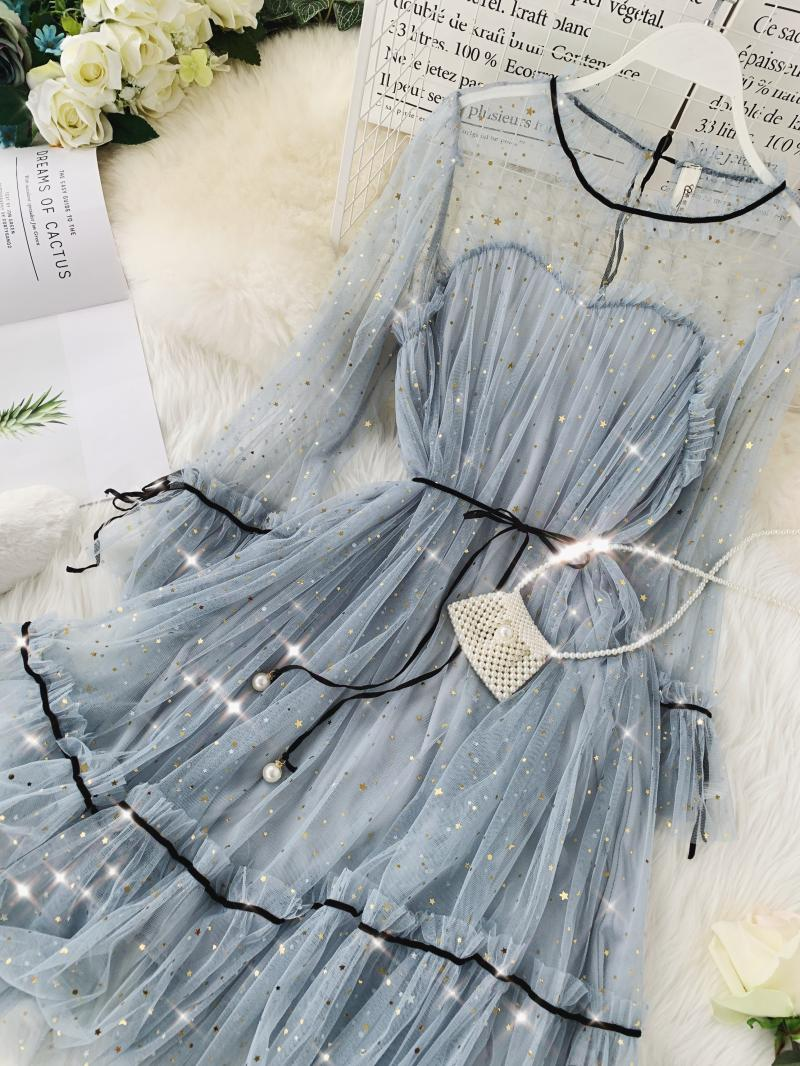 HISUMA spring autumn new women Star sequins gauze flare sleeve lace-up Princess dress female elegant o-neck mesh puff dresses 56