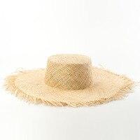 Bao Chapeau De Paille pour les Femmes Summer Beach Sun Chapeau 2018 De Mode Tendance Canotier Chapeaux avec Effiloché EdgesTop Qualité Seau Hats681012