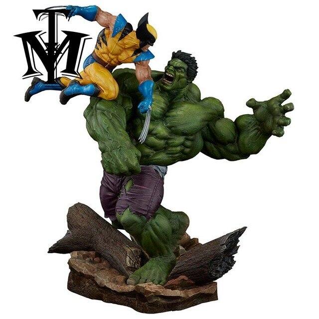 Anime Homens Hulk Vs Estátua Wolverine Action Figure do super-Herói X-MAN 1/6 scale pintada figura Cena V PVC brinquedos para crianças Brinquedos
