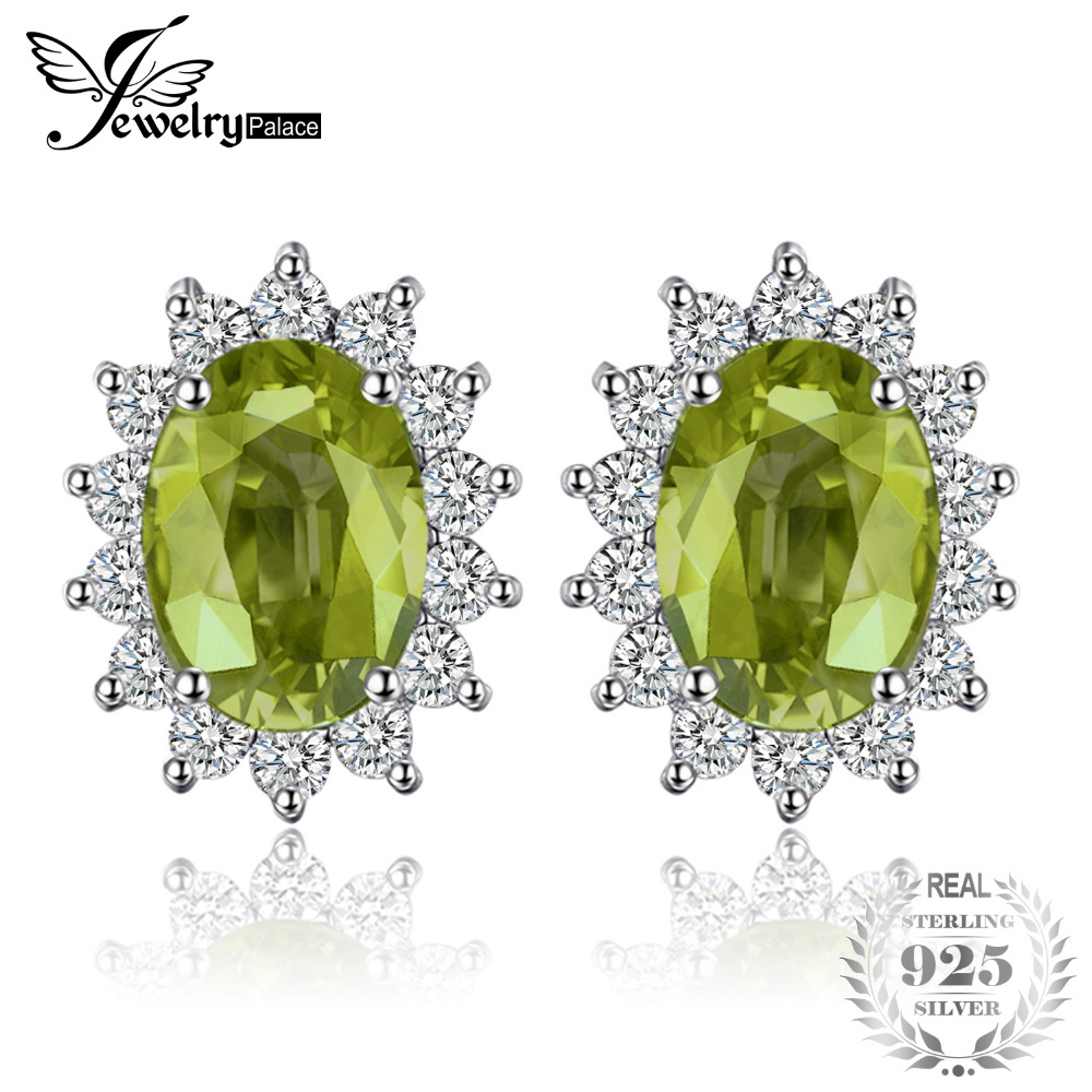 JewelryPalace Princess Diana William Kate 1.2ct Natural Peridot Halo Stud Earrings 925 Sterling Silver Fine Jewelry Gift For Her