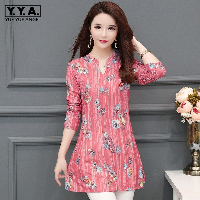 Plus Size 5XL Boho Style Women Chiffon Long Sleeve Shirts Office Ladies Work Floral Printed Blouses Loose Breathable L Shirt