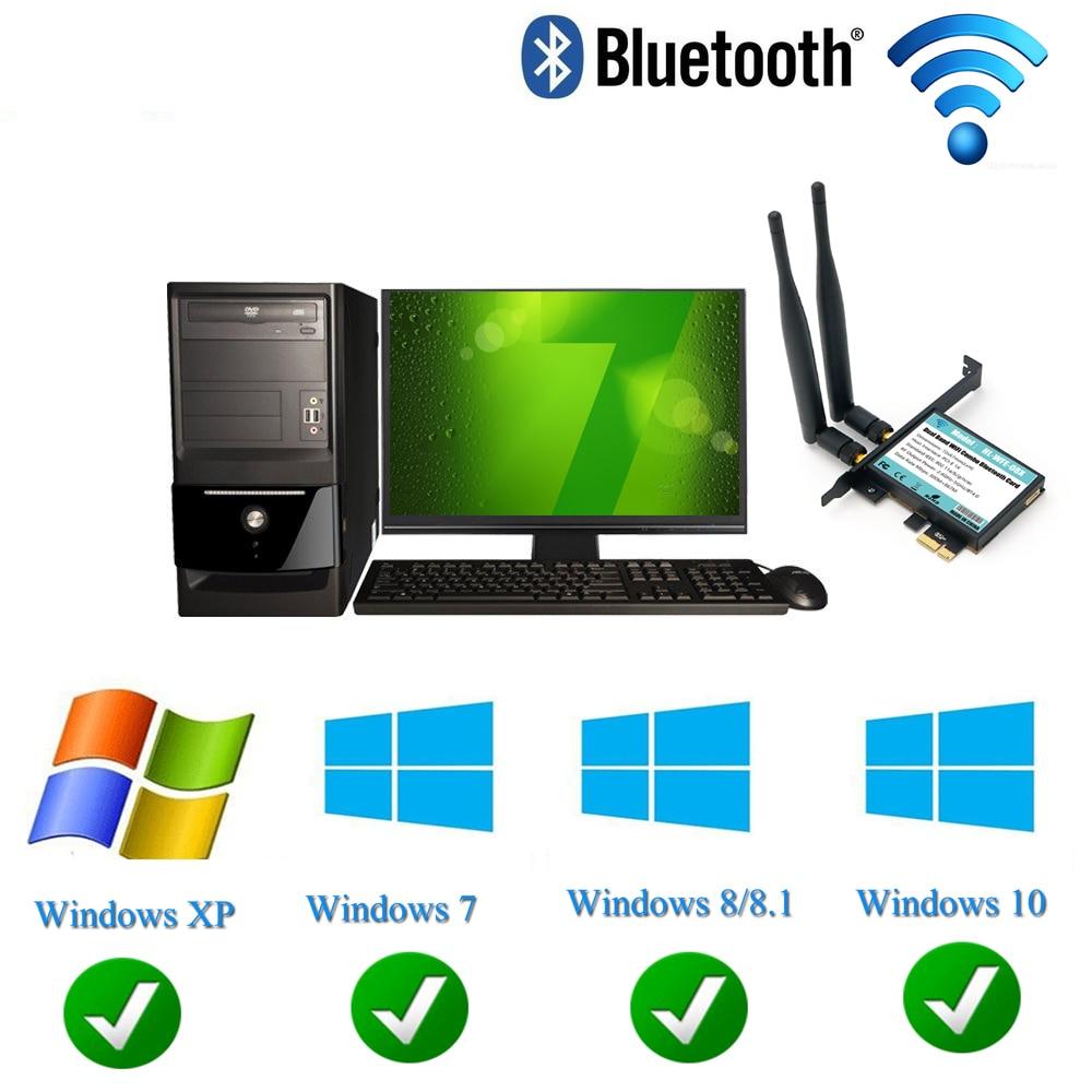 7265 Module à PCI-E 1X WiFi carte WiFi Ethernet carte réseau adaptateur Bluetooth 4.0 double bande 2.4 GHz 5 GHZ 802.11AC A/B/G/N Wi-Fi - 4