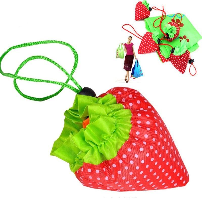 200PCS Random Color Cute Strawberry Shopping Bags Foldable Tote Eco Reusable Storage Handbag Nylon