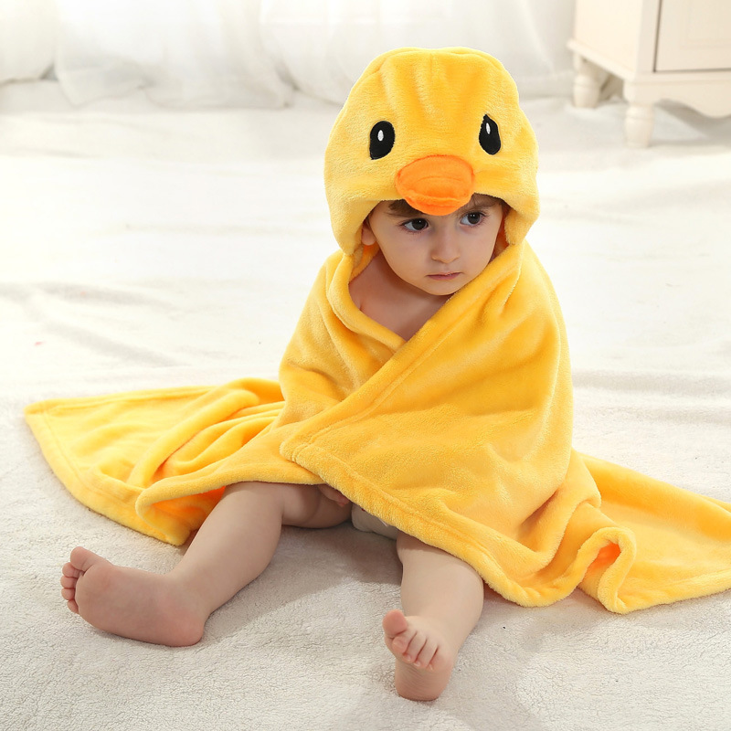 Yellow Duck Animal Cosplay Hooded Baby Infant Girl Boy Flannel Bath Towel Wrap Bathrobe Cute Cartoon Pajama Sleepwear