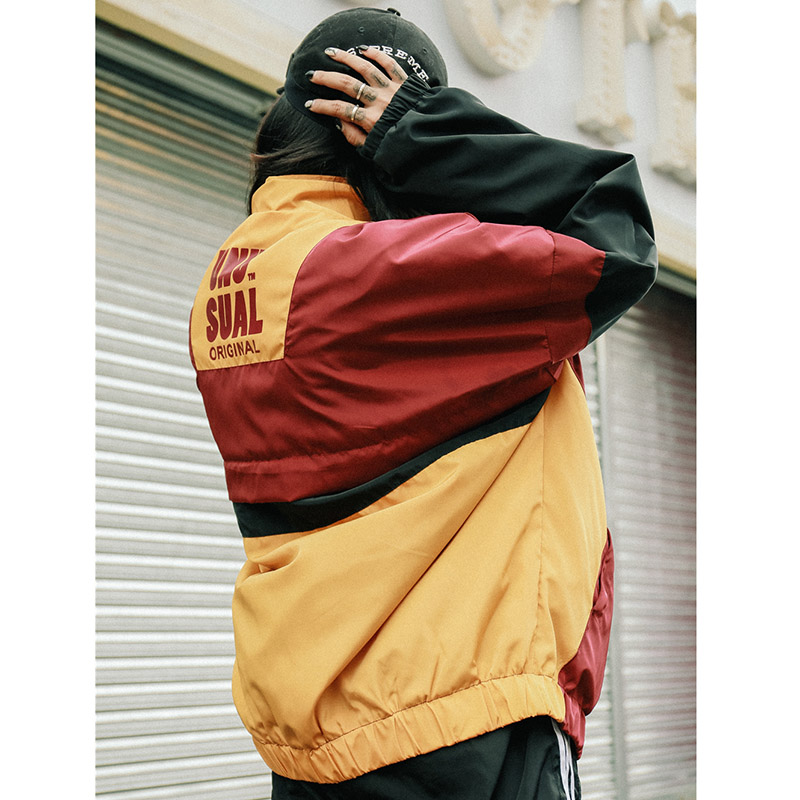 Automne 2018 Hip Hop coupe-vent veste surdimensionné hommes Harajuku couleur bloc veste manteau rétro Vintage Zip piste veste Streetwear - 5