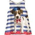 2016 Novidade Crianças do Vestido do Verão Filhote de Cachorro Do Cão de Algodão Listrado Crianças Vestido Da Menina Vestidos de Algodão Do Bebê Meninas Vestido de Verão Robe Fille Enfant
