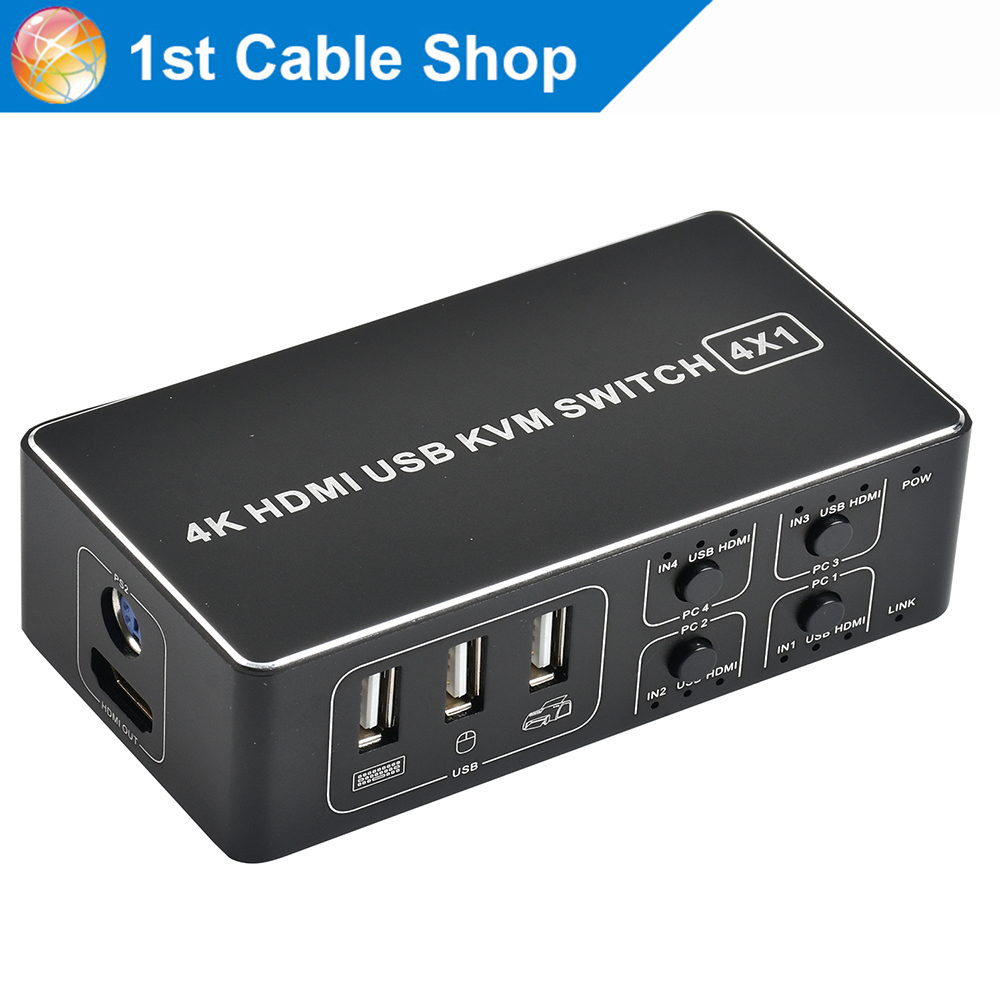 4 port 4K HDMI KVM Switch splitter box  USB HDMI 1.4 KVM Switcher selector control up to 4 monitors for mac os. windows 10-in HDMI Cables from Consumer Electronics