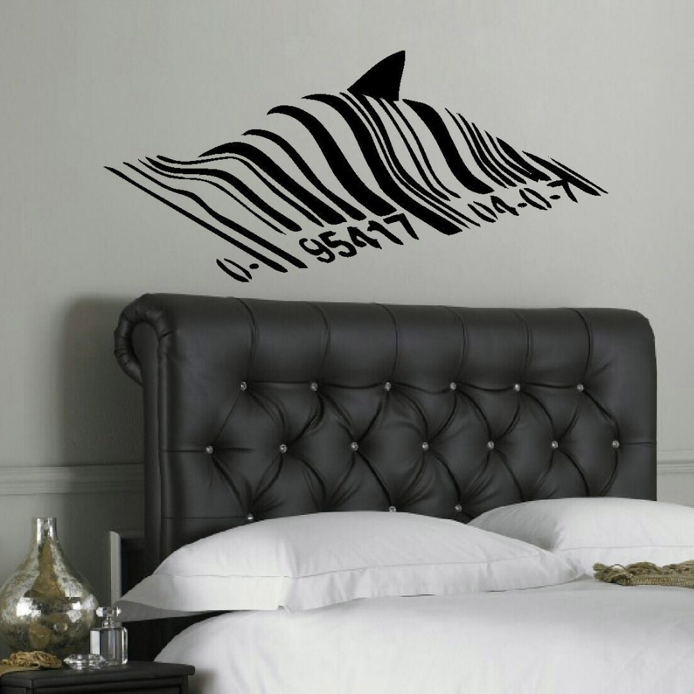 compare prices on banksy wall decal online shopping buy low price banksy shark bar code barcode wall mural art sticker transfer decal wall decals viny stickers
