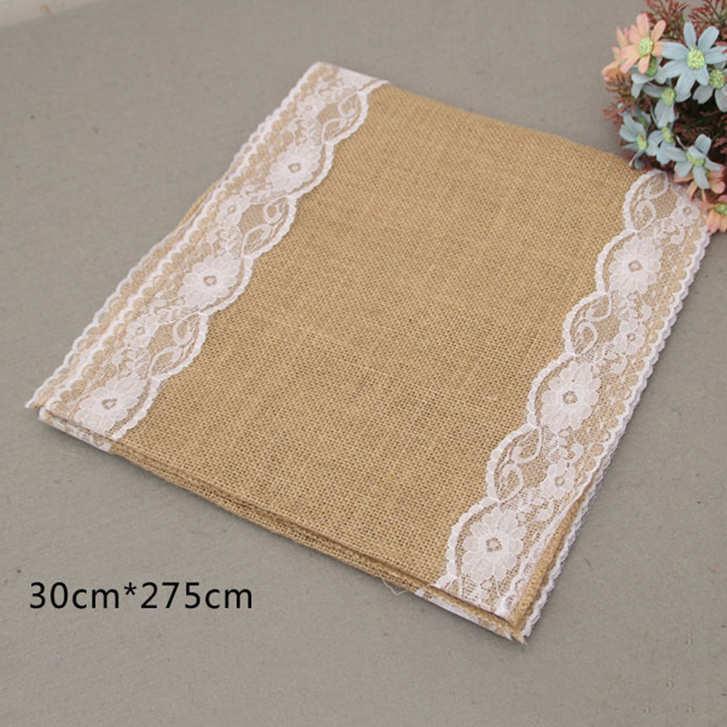 European Style Burlap Table Runner Flower Lace Natural Rustic Decor 4 Colors China
