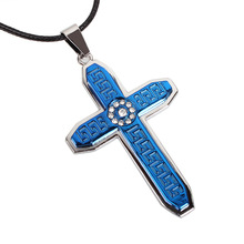 2017 New Fashion Jewelry Blue Gold colors Cross Pendent necklaces fow men Women couples Lovers anime statement steampunk kolye
