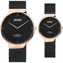 Роскошные DOM часы Для мужчин Для женщин простое платье Повседневное часы ультра тонкий Сталь на пару часов для любителей подарки relojes hombre 2018