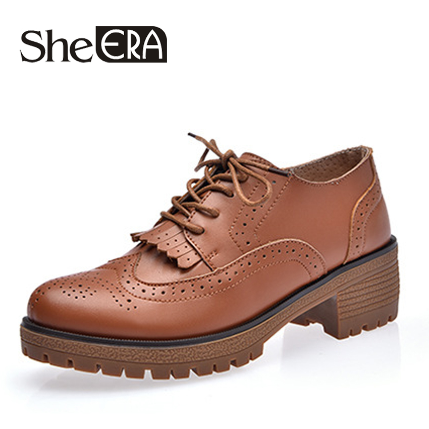 She Era 2018 Genuine Leather Women Oxfords Shoes Fashion Women Brogue Shoes Lace up Pointed toe Creepers Black Oxford Shoes 2017 women genuine leather brogue flats shoes patent leather lace up pointed toe luxury brand red blue black pink creepers